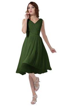 ColsBM Alexis Garden Green Simple A-line V-neck Zipper Knee Length Ruching Party Dresses