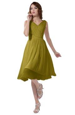 ColsBM Alexis Golden Olive Simple A-line V-neck Zipper Knee Length Ruching Party Dresses