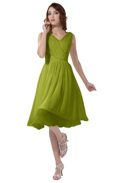 ColsBM Alexis Green Oasis Simple A-line V-neck Zipper Knee Length Ruching Party Dresses