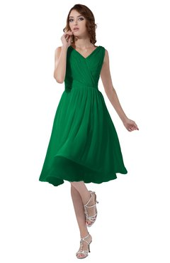 ColsBM Alexis Green Simple A-line V-neck Zipper Knee Length Ruching Party Dresses