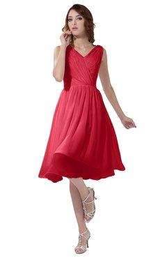 ColsBM Alexis Guava Simple A-line V-neck Zipper Knee Length Ruching Party Dresses