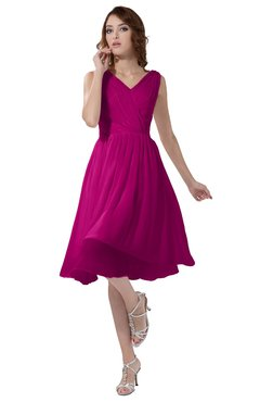 ColsBM Alexis Hot Pink Simple A-line V-neck Zipper Knee Length Ruching Party Dresses