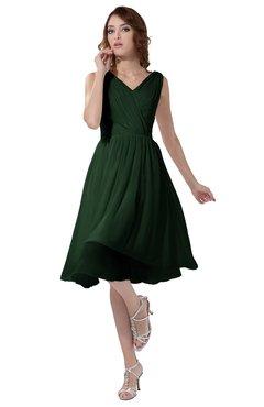 ColsBM Alexis Hunter Green Simple A-line V-neck Zipper Knee Length Ruching Party Dresses