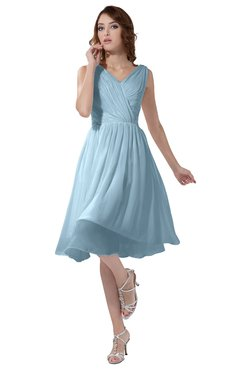 ColsBM Alexis Ice Blue Simple A-line V-neck Zipper Knee Length Ruching Party Dresses
