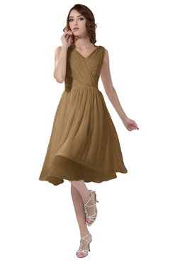 ColsBM Alexis Indian Tan Simple A-line V-neck Zipper Knee Length Ruching Party Dresses