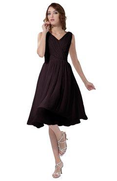 ColsBM Alexis Italian Plum Simple A-line V-neck Zipper Knee Length Ruching Party Dresses