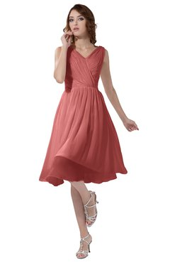 ColsBM Alexis Lantana Simple A-line V-neck Zipper Knee Length Ruching Party Dresses