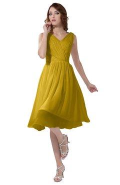 ColsBM Alexis Lemon Curry Simple A-line V-neck Zipper Knee Length Ruching Party Dresses