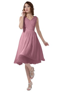 ColsBM Alexis Light Coral Simple A-line V-neck Zipper Knee Length Ruching Party Dresses