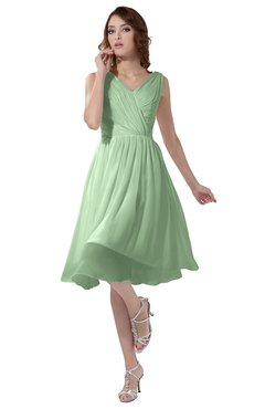 ColsBM Alexis Light Green Simple A-line V-neck Zipper Knee Length Ruching Party Dresses