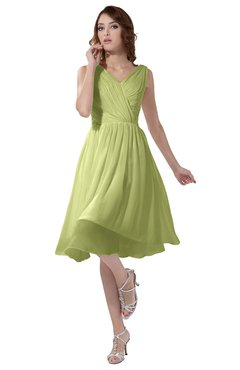 ColsBM Alexis Lime Sherbet Simple A-line V-neck Zipper Knee Length Ruching Party Dresses