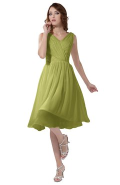 ColsBM Alexis Linden Green Simple A-line V-neck Zipper Knee Length Ruching Party Dresses