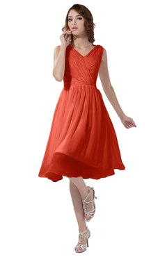 ColsBM Alexis Living Coral Simple A-line V-neck Zipper Knee Length Ruching Party Dresses