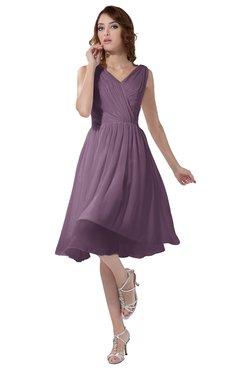 ColsBM Alexis Mauve Simple A-line V-neck Zipper Knee Length Ruching Party Dresses