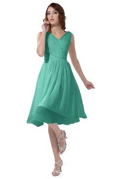 ColsBM Alexis Mint Green Simple A-line V-neck Zipper Knee Length Ruching Party Dresses