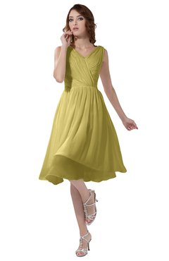 ColsBM Alexis Misted Yellow Simple A-line V-neck Zipper Knee Length Ruching Party Dresses