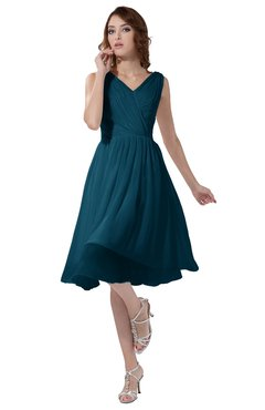 ColsBM Alexis Moroccan Blue Simple A-line V-neck Zipper Knee Length Ruching Party Dresses