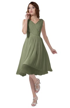 ColsBM Alexis Moss Green Simple A-line V-neck Zipper Knee Length Ruching Party Dresses