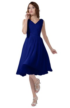ColsBM Alexis Nautical Blue Simple A-line V-neck Zipper Knee Length Ruching Party Dresses