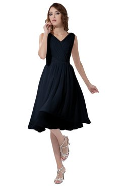 ColsBM Alexis Navy Blue Simple A-line V-neck Zipper Knee Length Ruching Party Dresses
