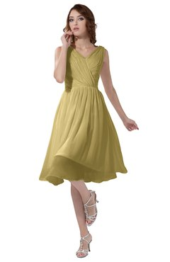 ColsBM Alexis New Wheat Simple A-line V-neck Zipper Knee Length Ruching Party Dresses