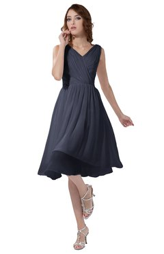 ColsBM Alexis Nightshadow Blue Simple A-line V-neck Zipper Knee Length Ruching Party Dresses