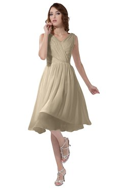 ColsBM Alexis Novelle Peach Simple A-line V-neck Zipper Knee Length Ruching Party Dresses