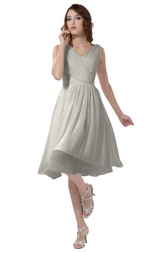 ColsBM Alexis Off White Simple A-line V-neck Zipper Knee Length Ruching Party Dresses