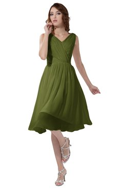 ColsBM Alexis Olive Green Simple A-line V-neck Zipper Knee Length Ruching Party Dresses