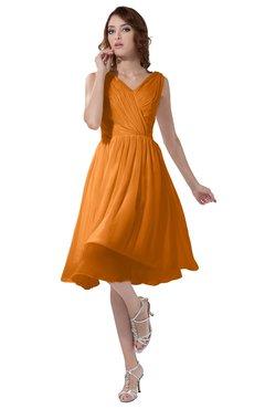 ColsBM Alexis Orange Simple A-line V-neck Zipper Knee Length Ruching Party Dresses