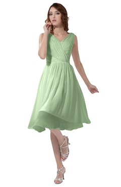 ColsBM Alexis Pale Green Simple A-line V-neck Zipper Knee Length Ruching Party Dresses