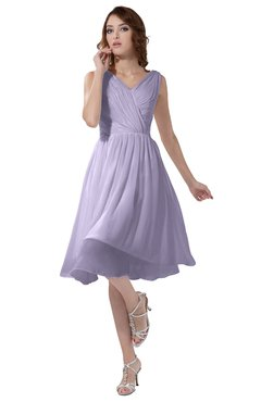 ColsBM Alexis Pastel Lilac Simple A-line V-neck Zipper Knee Length Ruching Party Dresses