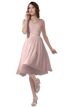 ColsBM Alexis Pastel Pink Simple A-line V-neck Zipper Knee Length Ruching Party Dresses
