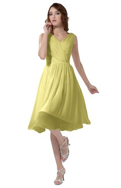 ColsBM Alexis Pastel Yellow Simple A-line V-neck Zipper Knee Length Ruching Party Dresses
