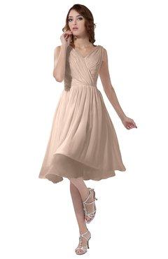 ColsBM Alexis Peach Puree Simple A-line V-neck Zipper Knee Length Ruching Party Dresses