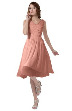 Simple A-line V-neck Zipper Knee Length Ruching Party Dresses