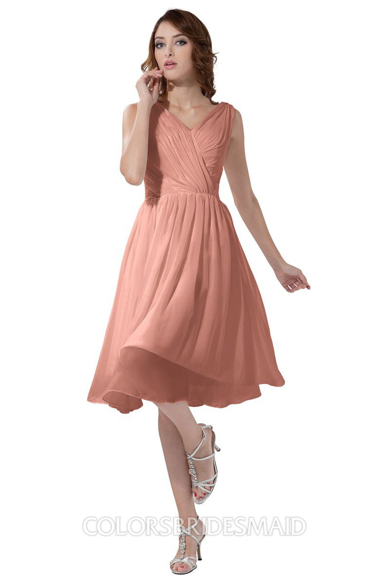 ad64b78d9a3f ColsBM Alexis Peach Simple A-line V-neck Zipper Knee Length Ruching Party  Dresses