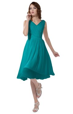 ColsBM Alexis Peacock Blue Simple A-line V-neck Zipper Knee Length Ruching Party Dresses