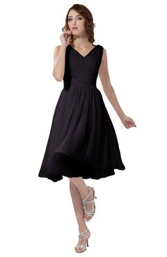 ColsBM Alexis Perfect Plum Simple A-line V-neck Zipper Knee Length Ruching Party Dresses