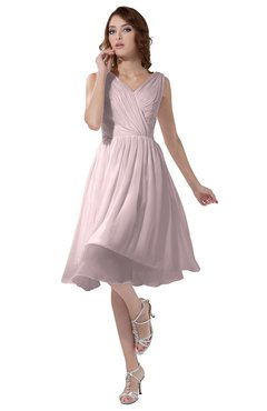 ColsBM Alexis Petal Pink Simple A-line V-neck Zipper Knee Length Ruching Party Dresses