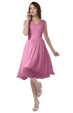 ColsBM Alexis Pink Simple A-line V-neck Zipper Knee Length Ruching Party Dresses