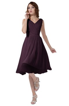 ColsBM Alexis Plum Simple A-line V-neck Zipper Knee Length Ruching Party Dresses