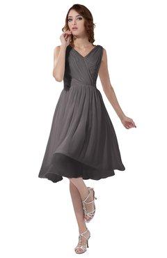 ColsBM Alexis Ridge Grey Simple A-line V-neck Zipper Knee Length Ruching Party Dresses