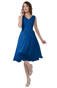 ColsBM Alexis Royal Blue Simple A-line V-neck Zipper Knee Length Ruching Party Dresses