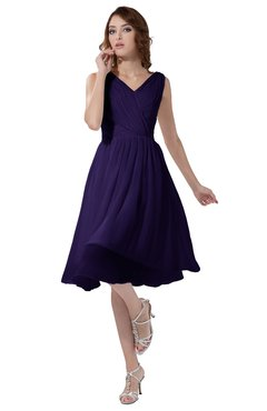ColsBM Alexis Royal Purple Simple A-line V-neck Zipper Knee Length Ruching Party Dresses