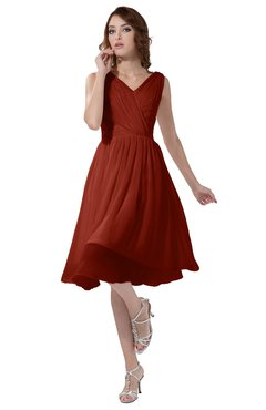 ColsBM Alexis Rust Simple A-line V-neck Zipper Knee Length Ruching Party Dresses