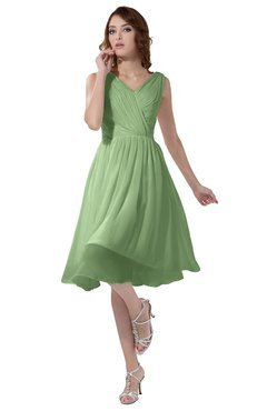 ColsBM Alexis Sage Green Simple A-line V-neck Zipper Knee Length Ruching Party Dresses