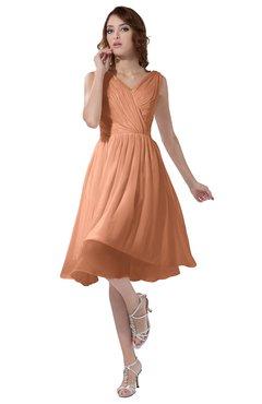 ColsBM Alexis Salmon Simple A-line V-neck Zipper Knee Length Ruching Party Dresses