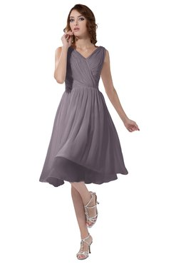 ColsBM Alexis Sea Fog Simple A-line V-neck Zipper Knee Length Ruching Party Dresses