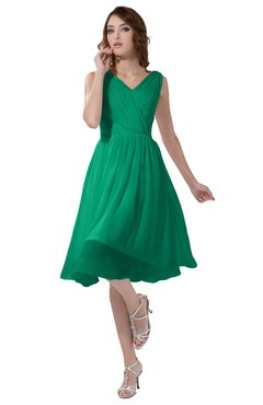 ColsBM Alexis Sea Green Simple A-line V-neck Zipper Knee Length Ruching Party Dresses